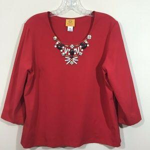 Ruby Rd PXL Top Petite XL Womens Shirt red w stone